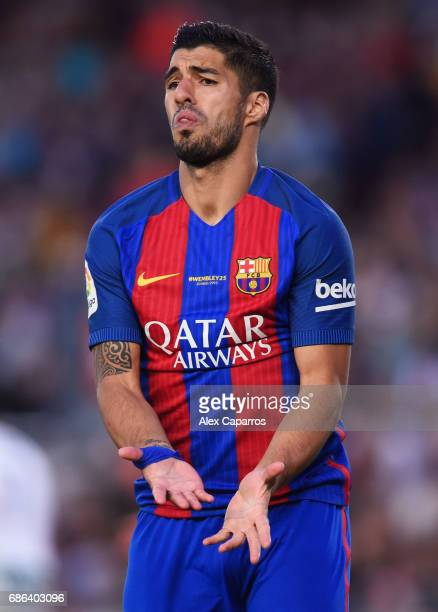 Luis Suarez of Barcelona reacts during the La Liga match between Barcelona and Eibar at Camp Nou on 21 May 2017 in Barcelona Spain