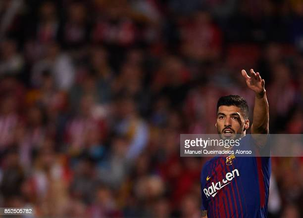 Luis Suarez of Barcelona reacts during the La Liga match between Girona and Barcelona at Municipal de Montilivi Stadium on September 23 2017 in...