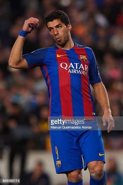 Luis Suarez of Barcelona reacts during the La Liga match between FC Barcelona and Valencia CF at Camp Nou Stadium on March 19 2017 in Barcelona Spain