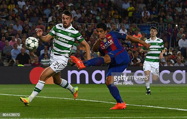 Luis Suarez of Barcelona scores his sides sixth goal during the UEFA Champions League Group C match between FC Barcelona and Celtic FC at Camp Nou on...