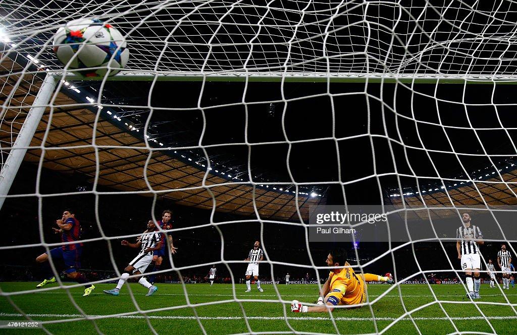 Luis Suarez of Barcelona scores his team's second goal past Gianluigi Buffon of Juventus during the UEFA Champions League Final between Juventus and...