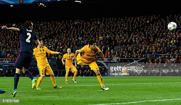 Luis Suarez of Barcelona scores their second goal with a header during the UEFA Champions League quarter final first leg match between FC Barcelona...