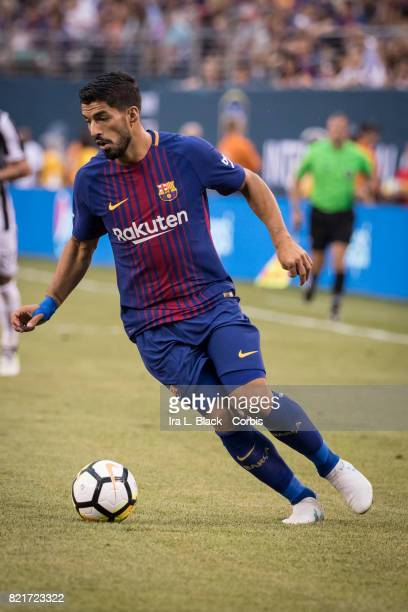 Luis Suarez of Barcelona turns toward the goal during the International Champions Cup match between FC Barcelona and Juventus at the MetLife Stadium...
