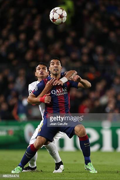 Luis Suarez of FC Barcelona and Thiago Silva of PSG in action during the UEFA Champions League Group F match between FC Barcelona and Paris...