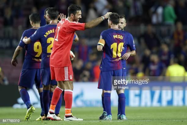 Luis Suarez of FC Barcelona Andre Gomes of FC Barcelona goalkeeper Gianluigi Buffon of Juventus FC Lionel Messi of FC Barcelona Jordi Alba of FC...