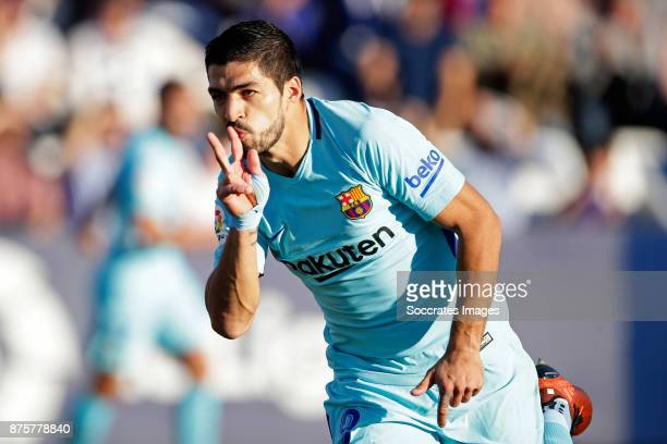 Luis Suarez of FC Barcelona celebrates 01 during the Spanish Primera Division match between Leganes v FC Barcelona at the Estadio Municipal de...