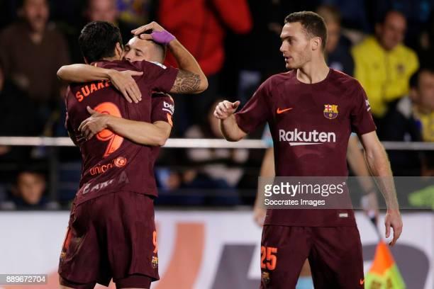 Luis Suarez of FC Barcelona celebrates 01 with Jordi Alba of FC Barcelona Thomas Vermaelen of FC Barcelona during the Spanish Primera Division match...