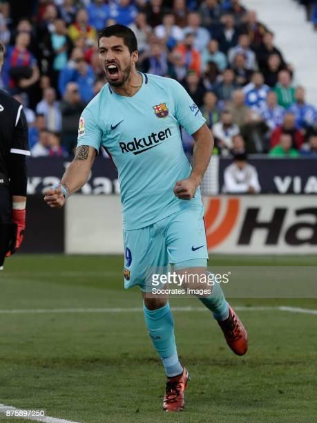 Luis Suarez of FC Barcelona celebrates 02 during the Spanish Primera Division match between Leganes v FC Barcelona at the Estadio Municipal de...