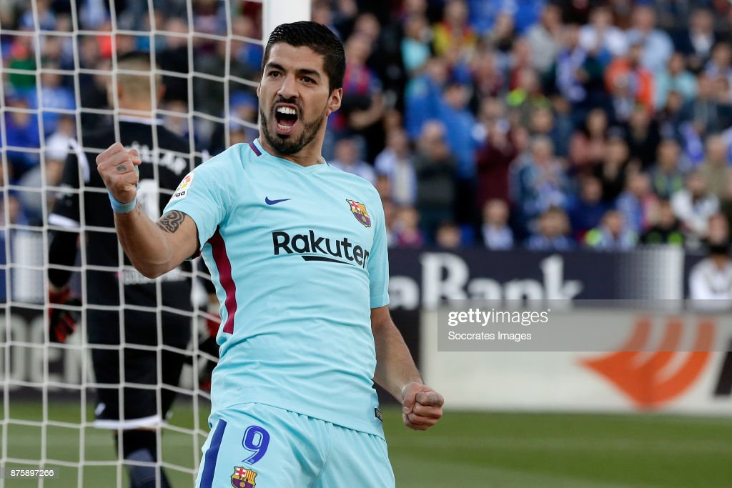 Luis Suarez of FC Barcelona celebrates 0-2 during the Spanish Primera Division match between Leganes v FC Barcelona at the Estadio Municipal de Butarque on November 18, 2017 in Madrid Spain