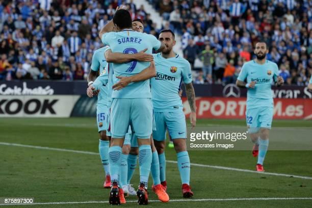 Luis Suarez of FC Barcelona celebrates 02 with Jordi Alba of FC Barcelona during the Spanish Primera Division match between Leganes v FC Barcelona at...
