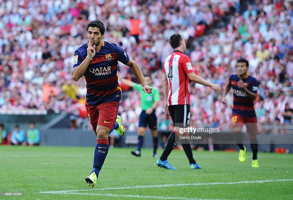 Luis Suarez of FC Barcelona celebrates after scoring Barcelona opening goal during the La Liga match between Athletic Club and FC Barcelona at San Mames Stadium on August 23, 2015 in Bilbao, Spain.