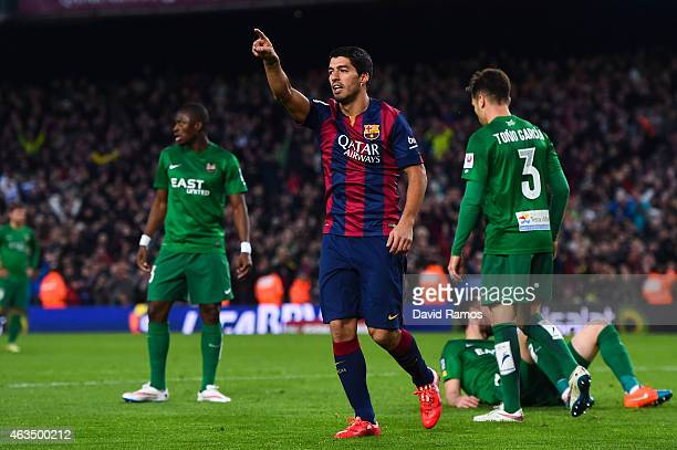 Luis Suarez of FC Barcelona celebrates after scoring his team's fifth goal during the La Liga match between FC Barcelona and Levante UD at Camp Nou...