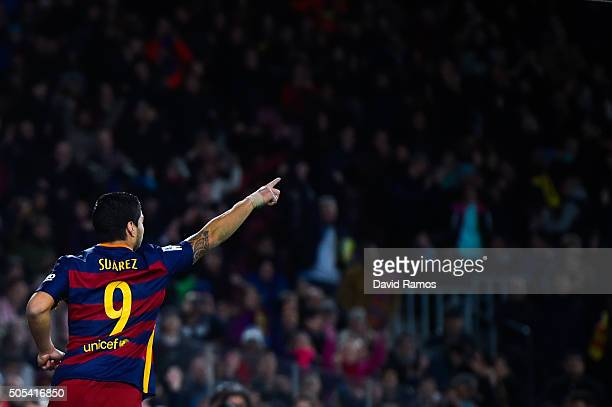 Luis Suarez of FC Barcelona celebrates after scoring his team's fifth goal during the La Liga match between FC Barcelona and Athletic Club de Bilbao...