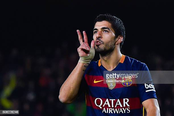 Luis Suarez of FC Barcelona celebrates after scoring his team's seventh goal during the Copa del Rey Semi Final first leg match between FC Barcelona...