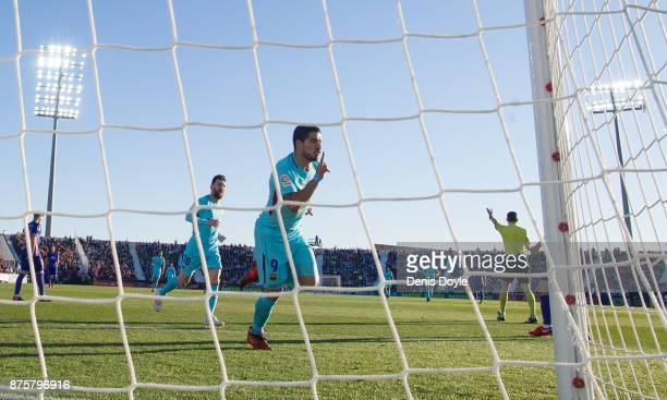 Luis Suarez of FC Barcelona celebrates after scoring his teamÕs opening goal during the La Liga match between Leganes and Barcelona at Estadio...