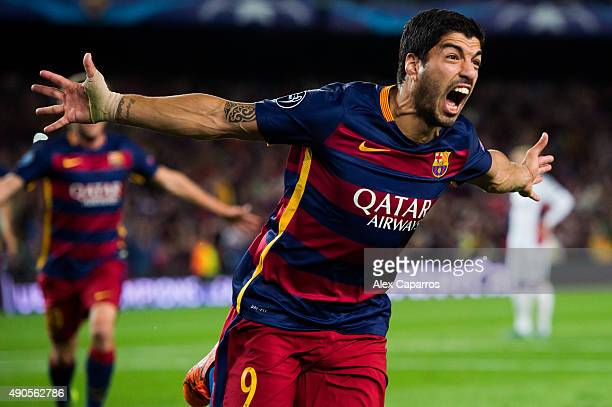 Luis Suarez of FC Barcelona celebrates after scoring his team's second goal during the UEFA Champions League Group E match between FC Barcelona and...