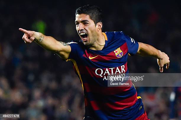 Luis Suarez of FC Barcelona celebrates after scoring his team's second goal during the La Liga match between FC Barcelona and SD Eibar at Camp Nou on...