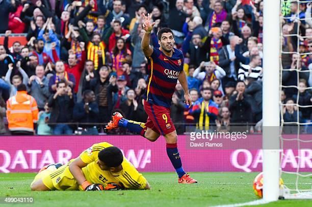 Luis Suarez of FC Barcelona celebrates after scoring his team's second goal during the La Liga match between FC Barcelona and Real Sociedad de Futbol...