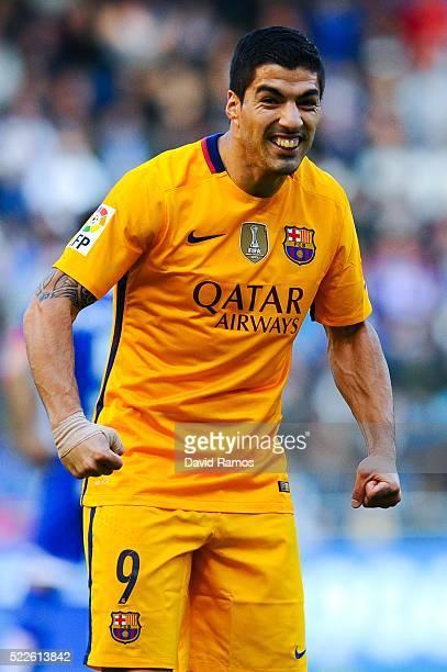 Luis Suarez of FC Barcelona celebrates after scoring his team's second goal during the La Liga match between RC Deportivo La Coruna and FC Barcelona...
