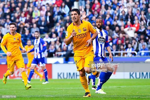 Luis Suarez of FC Barcelona celebrates after scoring his team's second goal during the La Liga match between RC Deportivo La Coruna and FC Barcelona...