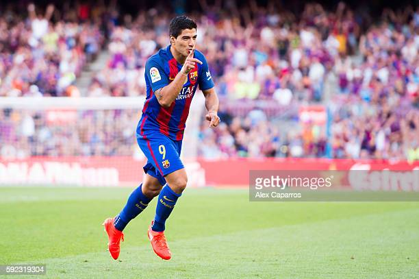 Luis Suarez of FC Barcelona celebrates after scoring his team's sixth goal during the La Liga match between FC Barcelona and Real Betis Balompie at...