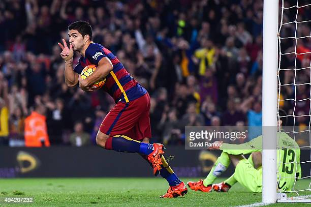 Luis Suarez of FC Barcelona celebrates after scoring the opening goal during the La Liga match between FC Barcelona and SD Eibar at Camp Nou on...
