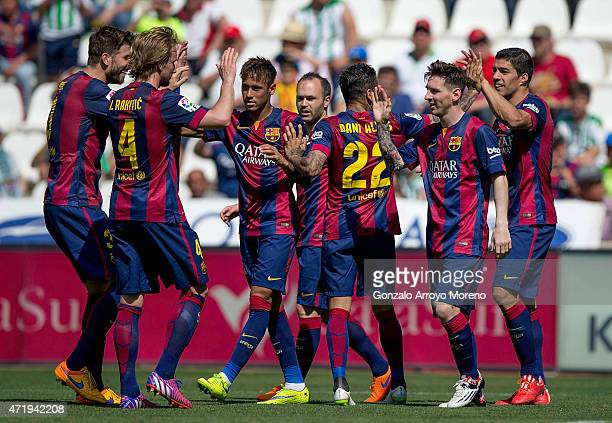 Luis Suarez of FC Barcelona celebrates scoring their second goal with teammates as Ivan Rakitic Gerard Pique Neymar JR Andres Iniesta Dani Alves and...