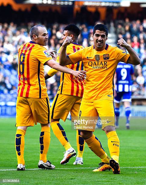 Luis Suarez of FC Barcelona celebrates with his team mate Andres Iniesta of FC Barcelona after scoring the opening goalduring the La Liga match...