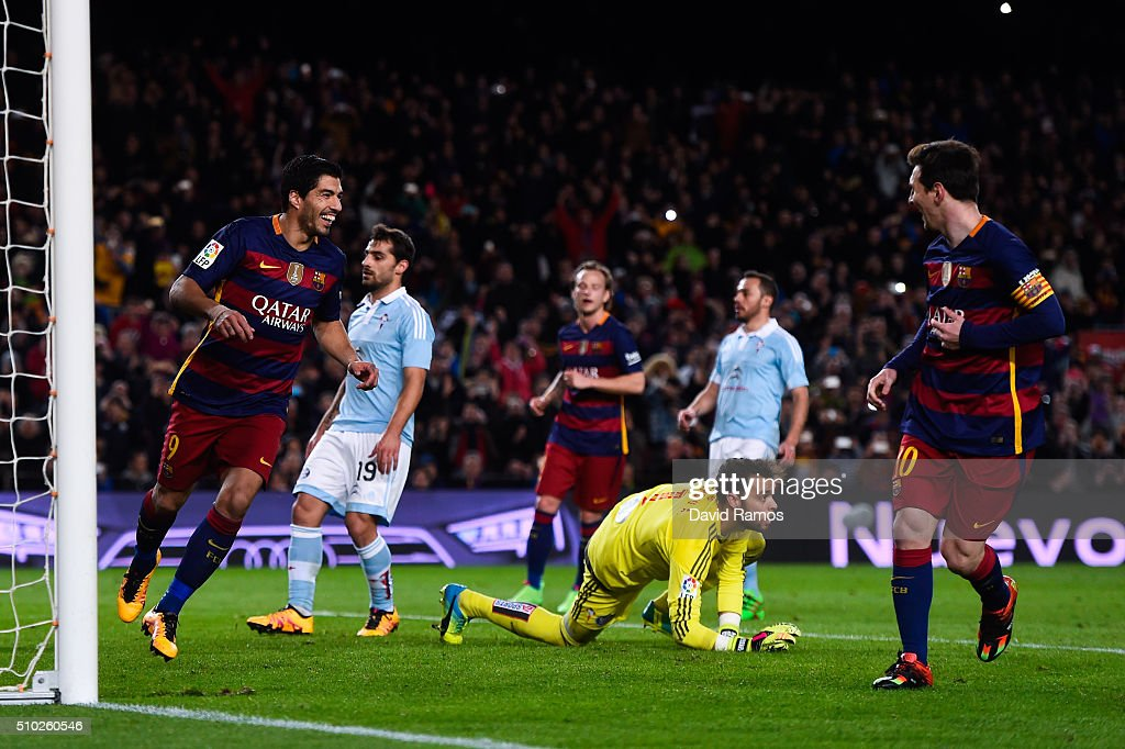 Luis Suarez of FC Barcelona celebrates with his team mate <a gi-track='captionPersonalityLinkClicked' href=/galleries/search?phrase=Lionel+Messi&family=editorial&specificpeople=453305 ng-click='$event.stopPropagation()'>Lionel Messi</a> of FC Barcelona after scoring his team's fourth goal from the penalty spot during the La Liga match between FC Barcelona and Celta Vigo at Camp Nou on February 14, 2016 in Barcelona, Spain. Messi took the penalty, tapping the ball softly forward for Suarez to run up and score.