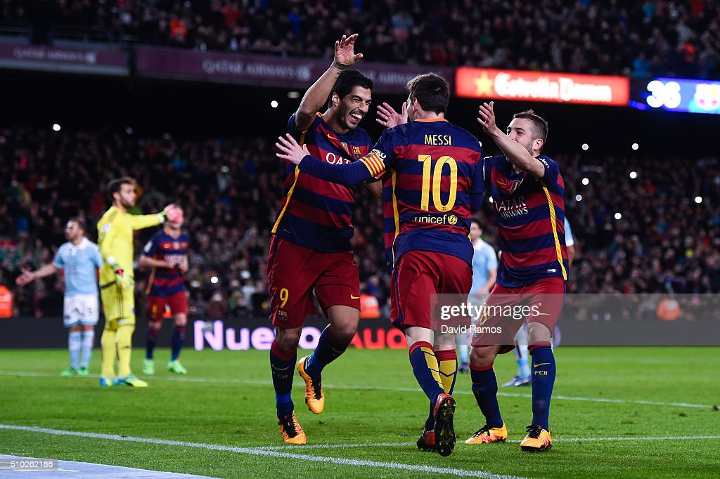 Luis Suarez of FC Barcelona celebrates with his team mate <a gi-track='captionPersonalityLinkClicked' href=/galleries/search?phrase=Lionel+Messi&family=editorial&specificpeople=453305 ng-click='$event.stopPropagation()'>Lionel Messi</a> of FC Barcelona after scoring his team's fourth goal from the penalty spot during the La Liga match between FC Barcelona and Celta Vigo at Camp Nou on February 14, 2016 in Barcelona, Spain.