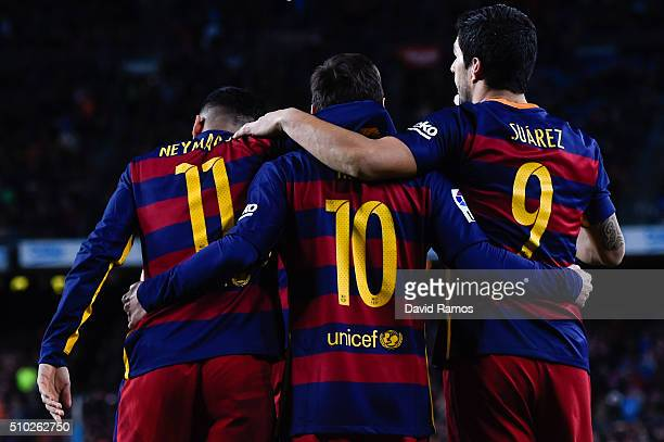 Luis Suarez of FC Barcelona celebrates with his team mates Lionel Messi and Neymar of FC Barcelona after scoring his team's third goal during the La...