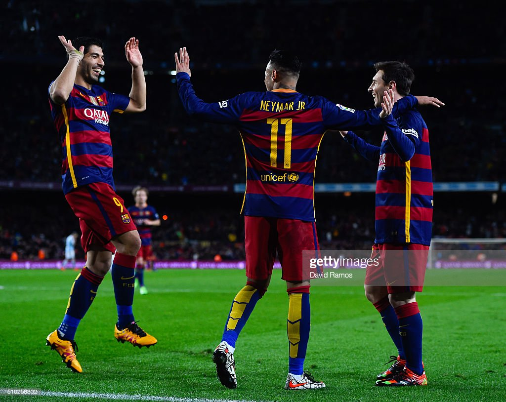 Luis Suarez of FC Barcelona celebrates with his team mates Neymar and <a gi-track='captionPersonalityLinkClicked' href=/galleries/search?phrase=Lionel+Messi&family=editorial&specificpeople=453305 ng-click='$event.stopPropagation()'>Lionel Messi</a> of FC Barcelona after scoring his team's third goal during the La Liga match between FC Barcelona and Celta Vigo at Camp Nou on February 14, 2016 in Barcelona, Spain.