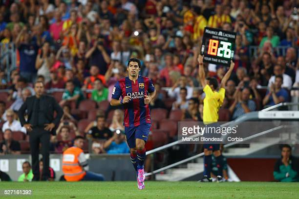 Luis Suarez of FC Barcelona comes on as a substitute during the Joan Gamper Trophy football match between FC Barcelona and FC Leon on August 18 2014...