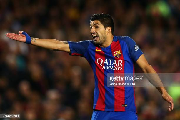 Luis Suarez of FC Barcelona gestures during the UEFA Champions League Quarter Final second leg match between FC Barcelona and Juventus at Camp Nou on...