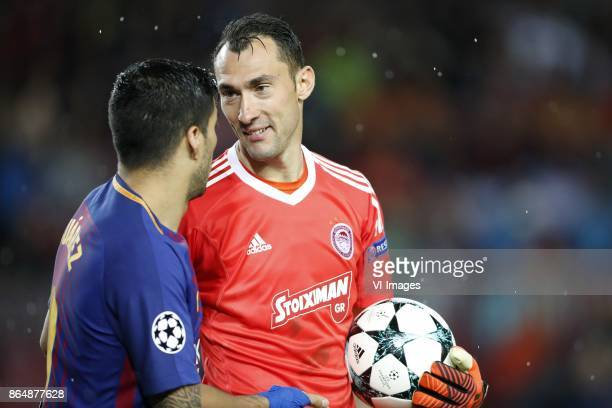 Luis Suarez of FC Barcelona goalkeeper Silvio Proto of Olympiacos during the UEFA Champions League group D match between FC Barcelona and Olympiacos...
