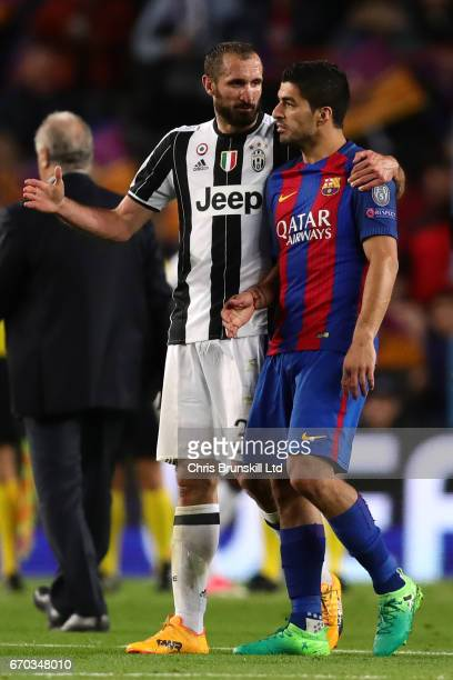 Luis Suarez of FC Barcelona is consoled by Giorgio Chiellini of Juventus at the end of the UEFA Champions League Quarter Final second leg match...