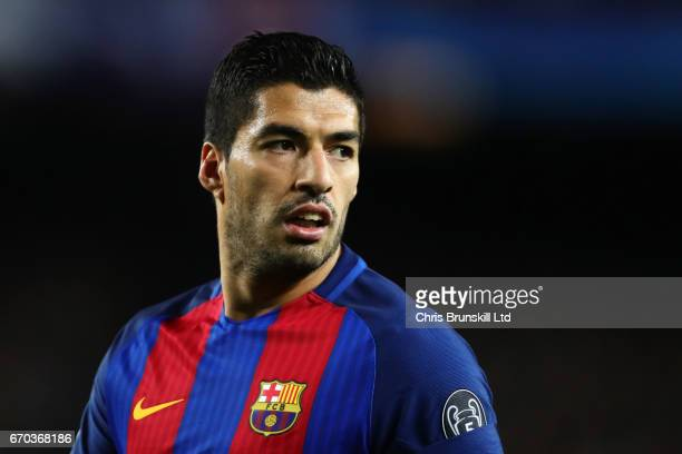 Luis Suarez of FC Barcelona looks on during the UEFA Champions League Quarter Final second leg match between FC Barcelona and Juventus at Camp Nou on...