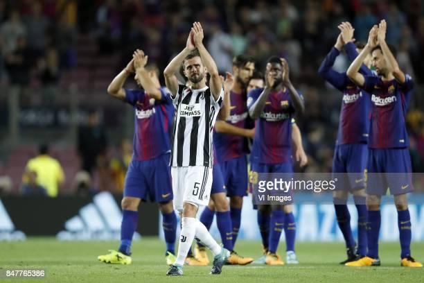 Luis Suarez of FC Barcelona Miralem Pjanic of Juventus FC Andre Gomes of FC Barcelona Lionel Messi of FC Barcelona Samuel Umtiti of FC Barcelona...