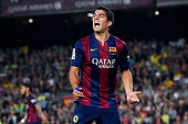 Luis Suarez of FC Barcelona reacts after missing a chance to score during the La Liga match between FC Barcelona and Celta de Vigo at Camp Nou on...