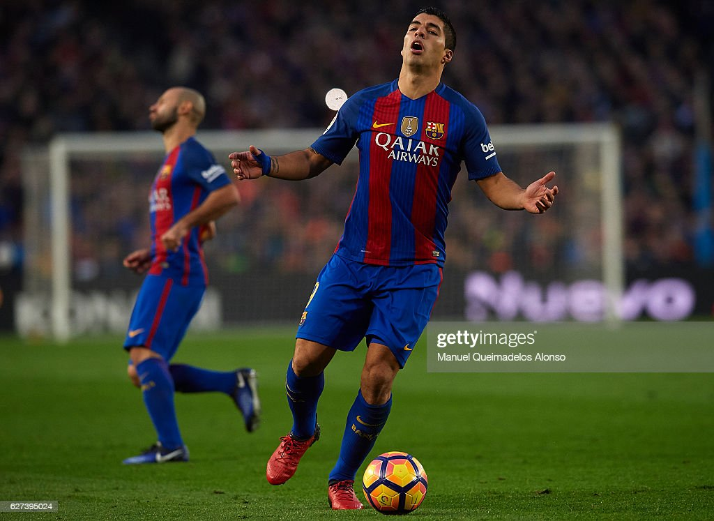 Luis Suarez of FC Barcelona reacts during the La Liga match between FC Barcelona and Real Madrid CF at Camp Nou stadium on December 03 2016 in...