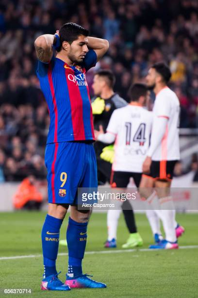 Luis Suarez of FC Barcelona reacts during the La Liga match between FC Barcelona and Valencia CF at Camp Nou stadium on March 19 2017 in Barcelona...