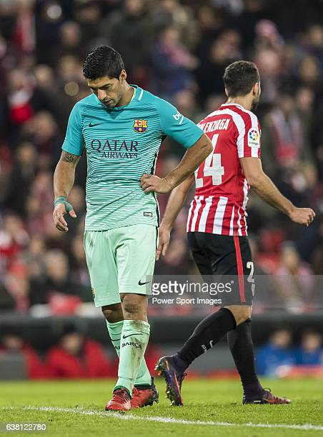 Luis Suarez of FC Barcelona reacts during their Copa del Rey Round of 16 first leg match between Athletic Club and FC Barcelona at San Mames Stadium...