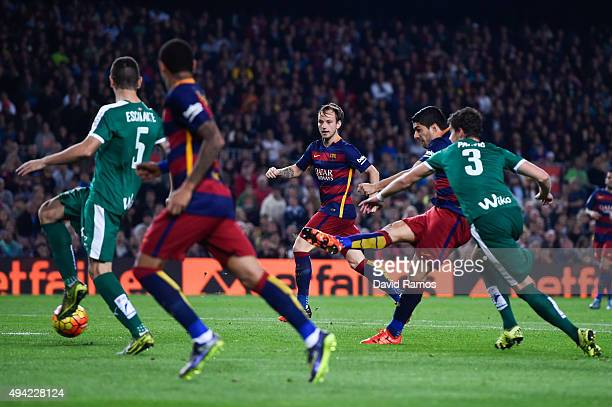 Luis Suarez of FC Barcelona scores his team's second goal during the La Liga match between FC Barcelona and SD Eibar at Camp Nou on October 25 2015...