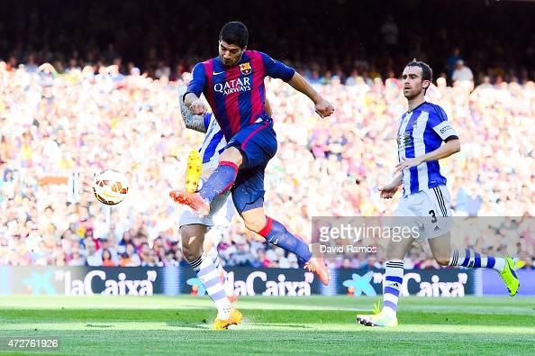 Luis Suarez of FC Barcelona shoots towards goal during the La Liga match between FC Barcelona and Real Sociedad de Futbol at Camp Nou on May 9 2015...