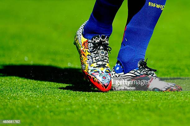 Luis Suarez of FC Barcelona wears new tattoo Adidas boots during the La Liga match between FC Barcelona and Rayo Vallecano de Madrid at Camp Nou on...