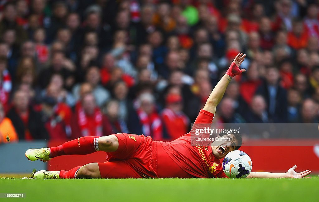 Luis Suarez of Liverpool appeals during the Barclays Premier League match between Liverpool and Newcastle United at Anfield on May 11, 2014 in Liverpool, England.
