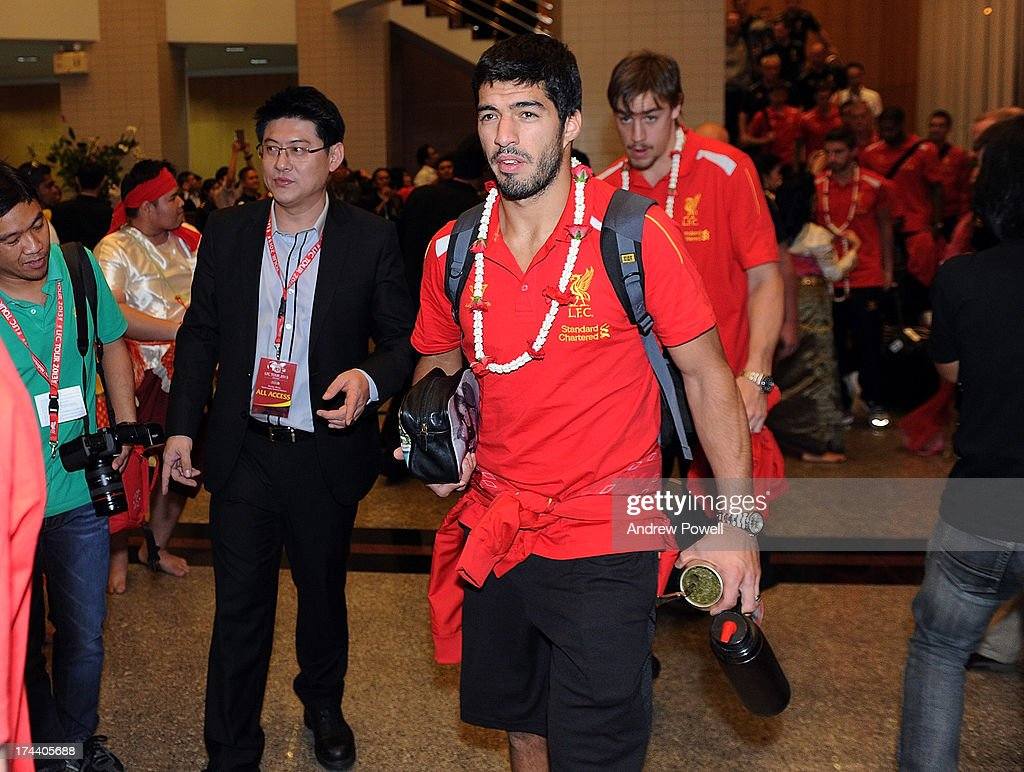 Luis Suarez of Liverpool arrives in Bangkok for a stop on the club's Pre-Season tour on July 25, 2013 in Bangkok, Thailand.