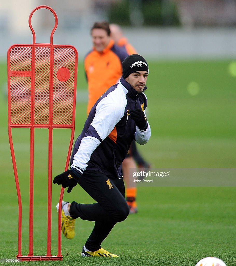 OUT. Luis Suarez of Liverpool at Melwood Training Ground on November 21, 2012 in Liverpool, England.