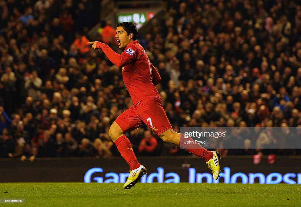 Luis Suarez of Liverpool celebrates his goal during the Barclays Premier League match between Liverpool and Newcastle United at Anfield on November 4, 2012 in Liverpool, England.
