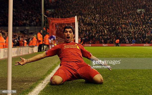 Luis Suarez of Liverpool celebrates his goal during the Barclays Premier League match between Liverpool and Everton at Anfield on January 28 2014 in...